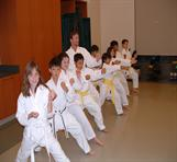 Students participating in karate class