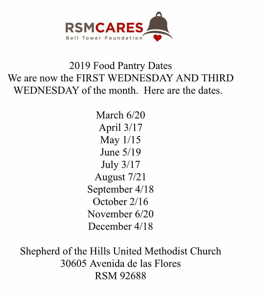 Food Pantry dates 2019