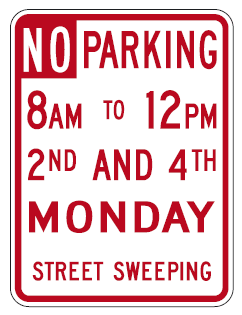 No Parking Sign Monday