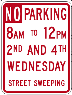 No Parking Sign 2nd 4th Wednesday