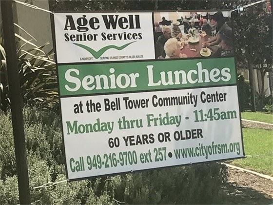 Senior Lunch banner at the Bell Tower Community Center