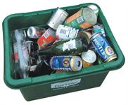 Bottles and cans inside of a green recycling bin
