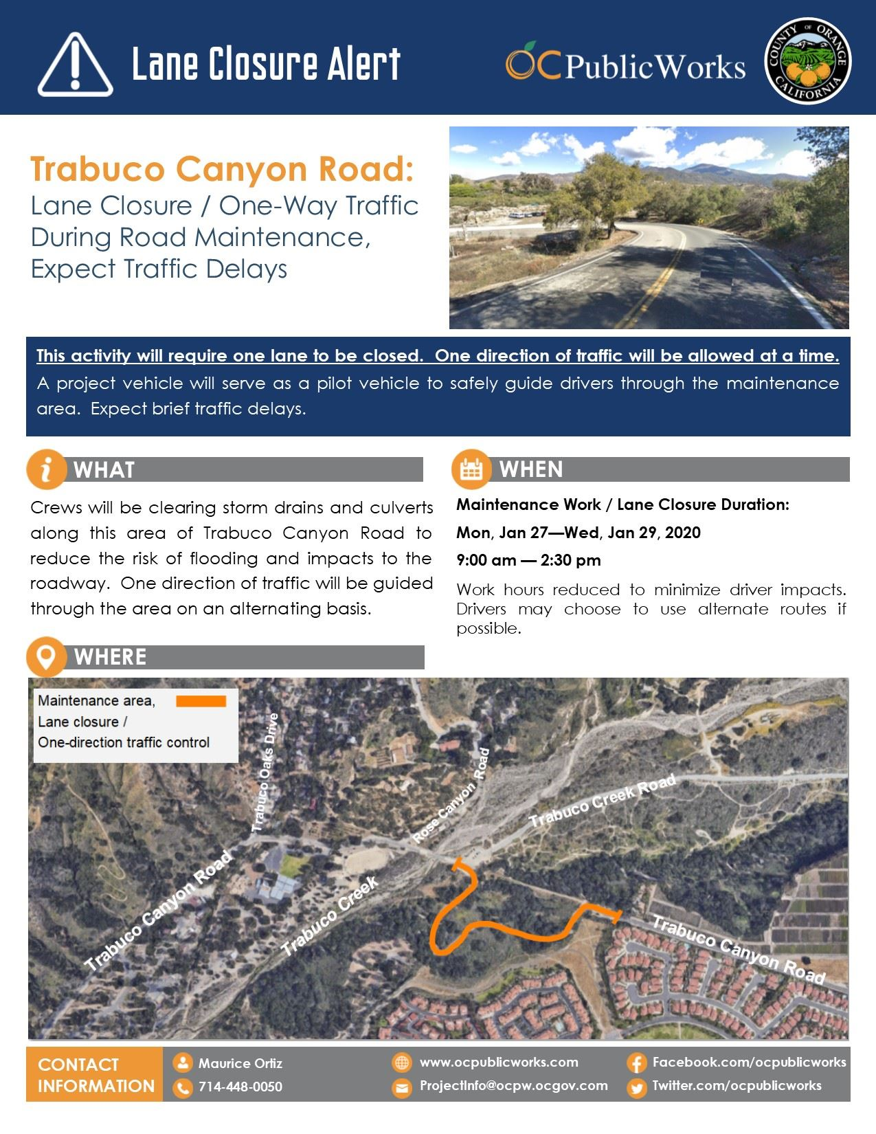 Trabuco Cyn Road Lane Closure - Maintenance Notification (1-21-2020)