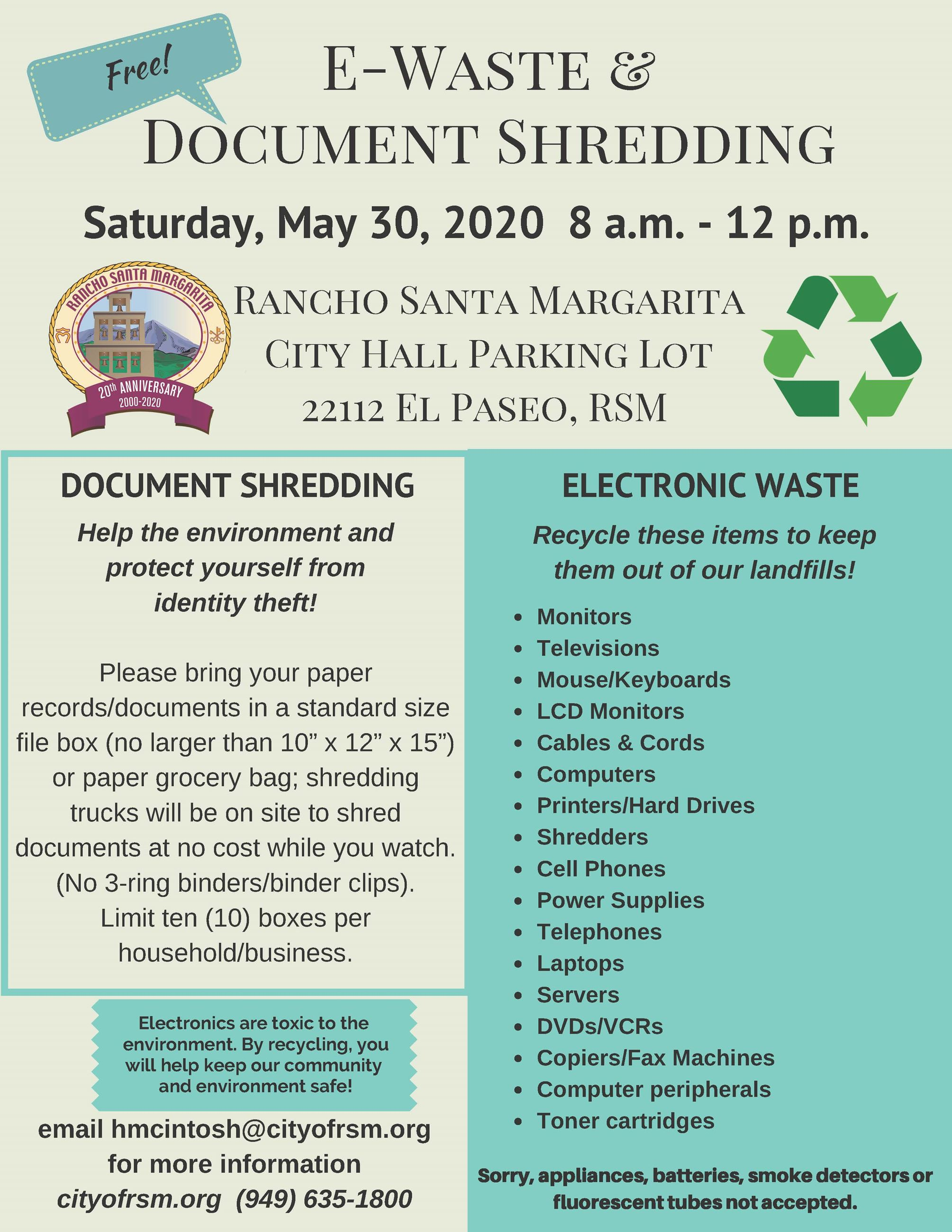 05302020 E Waste and Document Shredding flyer