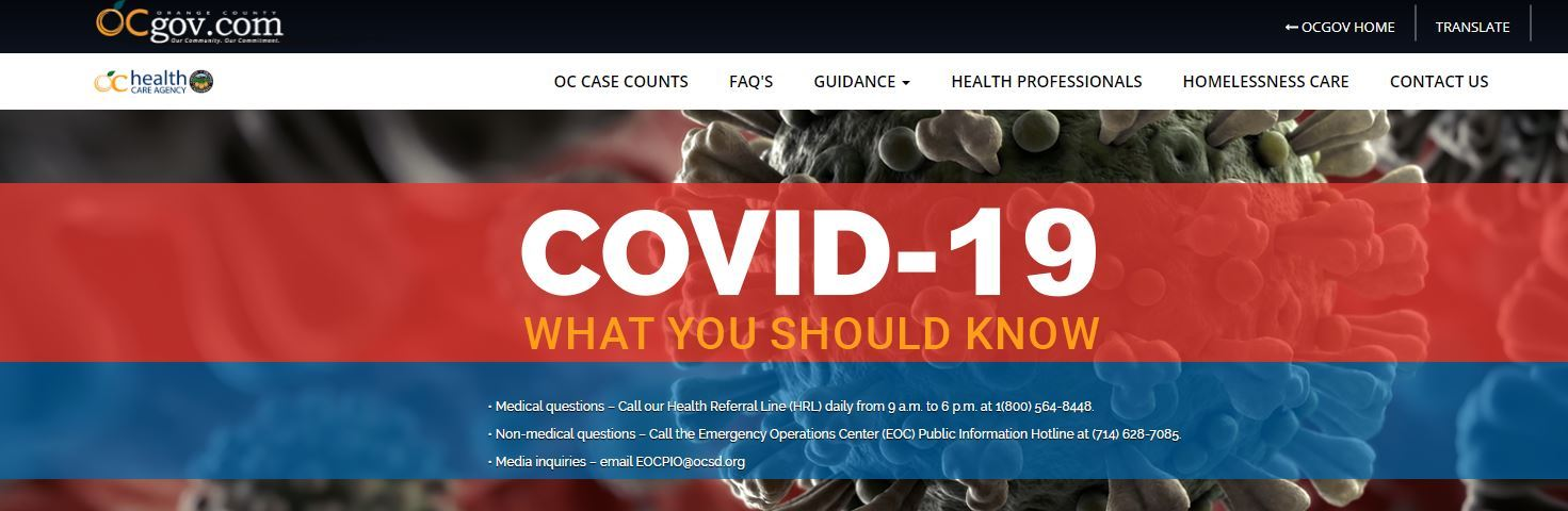 OC Health COVID-19 Website Masthead