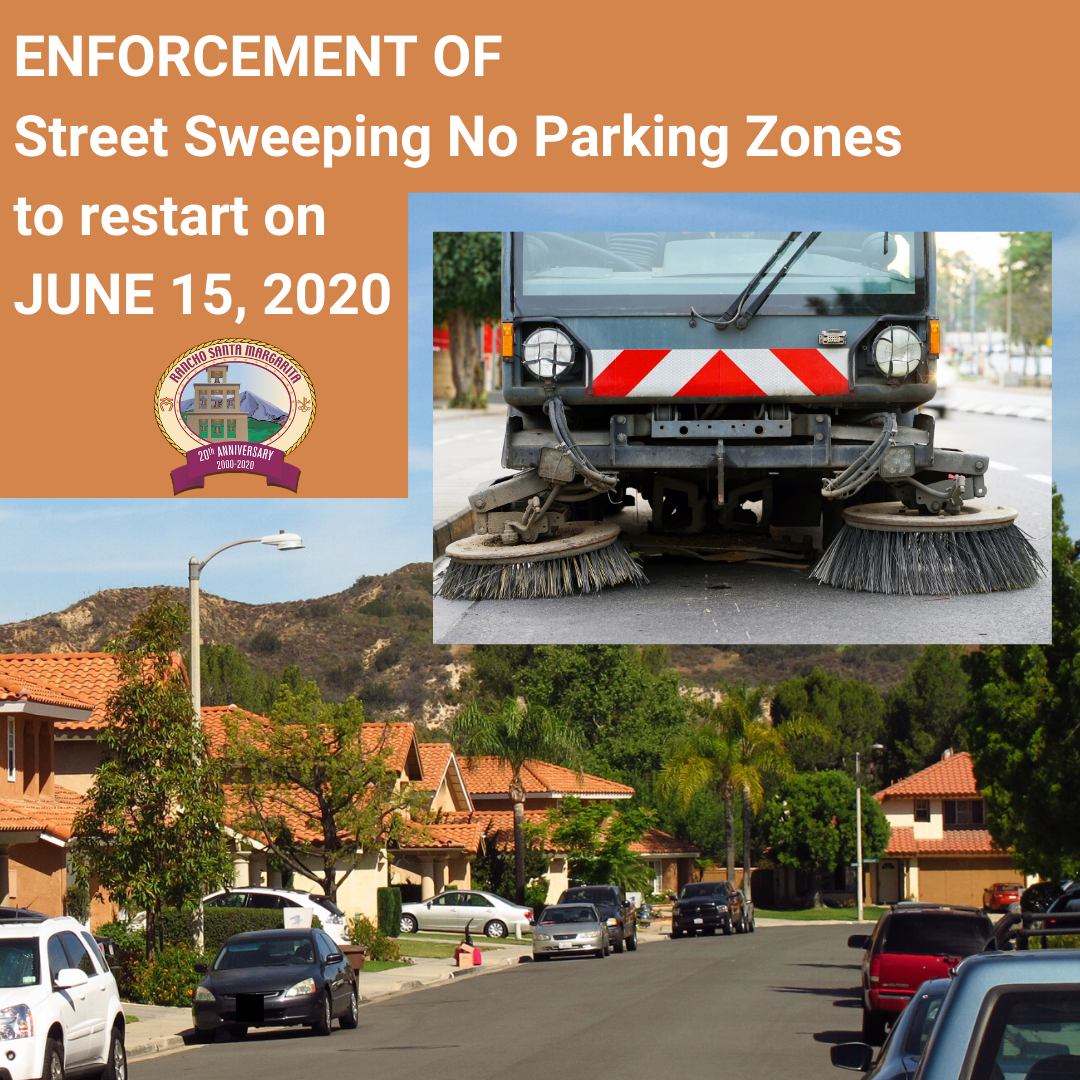 Street Sweeping No Parking Zones to restart on JUNE 15, 2020 graphic
