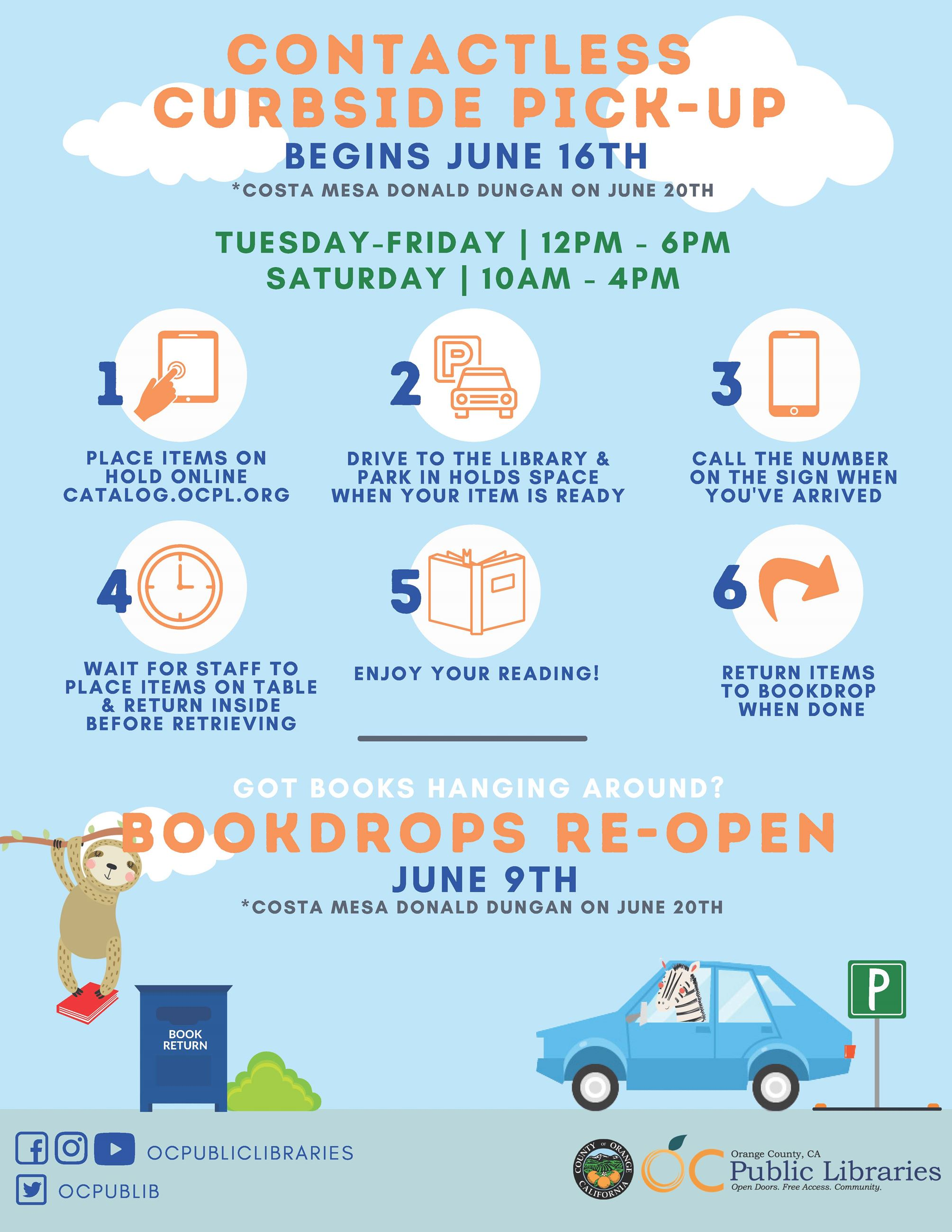 OCPL Curbside and bookdrops flyer