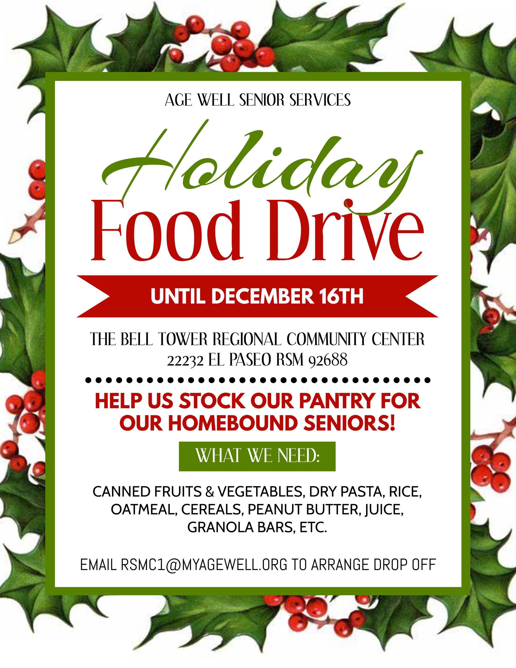 Holiday Food Drive Age Well Xmas RSM Flyer